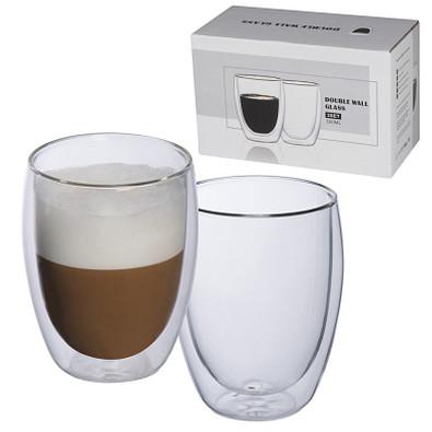 2er Set Vakuum-Cappucinotassen, doppelwandig, transparent