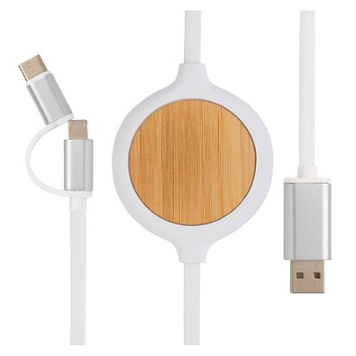 XD COLLECTION 3-in-1 Kabel Wireless Charger mit 5W Bambus, weiß