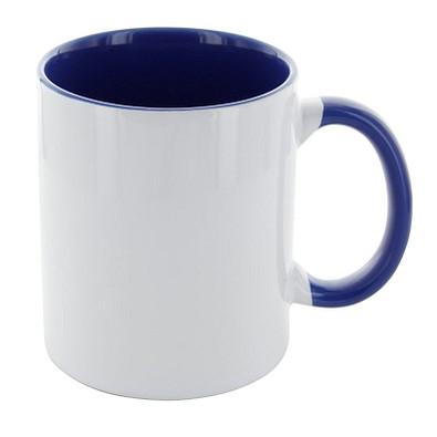 Carola mit blauem Henkel, 300 ml, weiß/blau