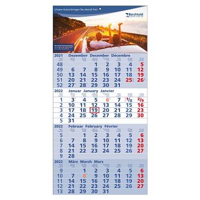 4-Monats-Wandkalender Quattro 2022, hellblau/weiß