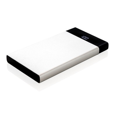 XD COLLECTION flache Powerbank mit digitalem Display, 6.000mAh, silber