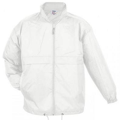 B&C Collection Unisex Windbreaker Jacke, weiß, XL