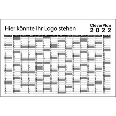 CleverPlan-Wandplaner 2022, abwaschbar, schwarz/grau