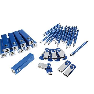 Werbe-Sparset: Powerbank 2.200 mAh, Touch-Kugelschreiber, USB-Stick 8 GB, 120-tlg., inkl. Gravur, blau
