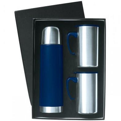 Edelstahl Thermo-Set, Kanne 450 ml, Becher 2x 250 ml, blau