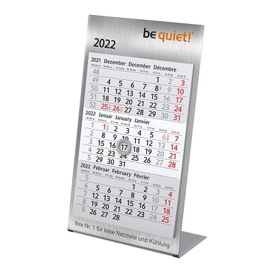 3-Monats-Tischkalender aus Metall 2022/2023, gebürsteter Edelstahl