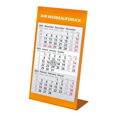 3-Monats-Tischkalender aus Metall 2022/2023, orange