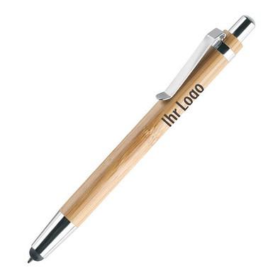 Bambus-Touch-Kugelschreiber, blaue Mine, braun