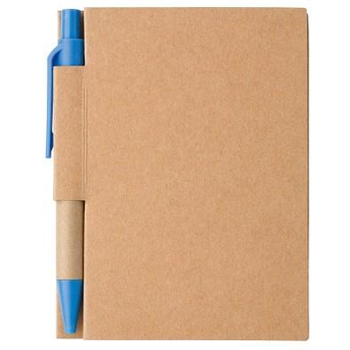 Notizbuch mit Kugelschreiber Mini, liniert, natur/blau