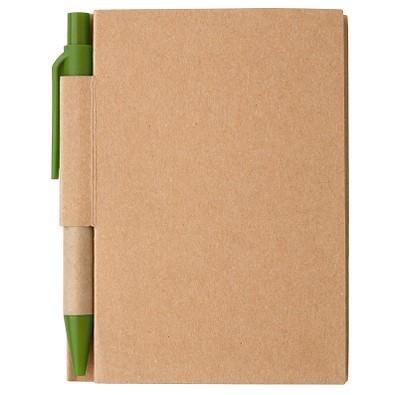 Notizbuch mit Kugelschreiber Mini, liniert, natur/grün