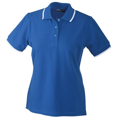 JAMES & NICHOLSON Damen Poloshirt Pique, blau/weiß, L
