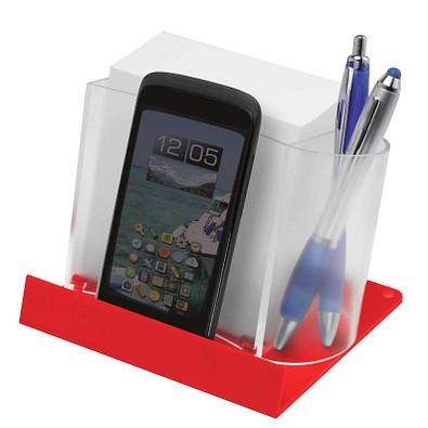Smartphone-/Tabletständer mit Zettelbox, Transparent/Rot