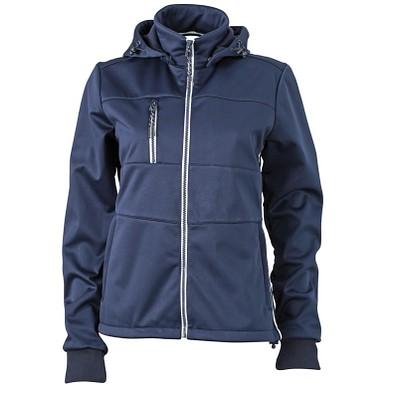 JAMES & NICHOLSON Damen Softshell-Jacke Maritime, dunkelblau/dunkelblau/weiß, XL