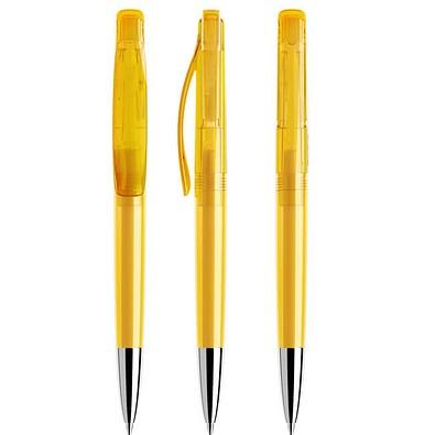 prodir® Druckkugelschreiber DS 2 mit polierter Metallspitze, blaue Mine, gelb Transparent