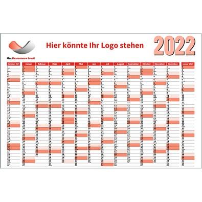 Wandplaner 2022, rot, inkl. 1-fbg. Druck