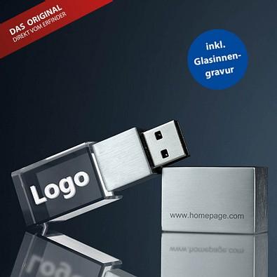 USB-Stick 3D, 16 GB, transparent,silber