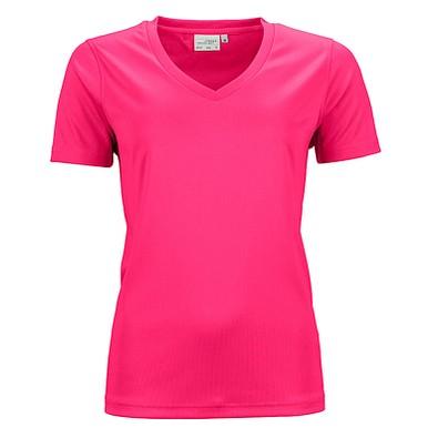 JAMES & NICHOLSON Damen Funktions T-Shirt Active, pink, L