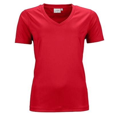 JAMES & NICHOLSON Damen Funktions T-Shirt Active, rot, S