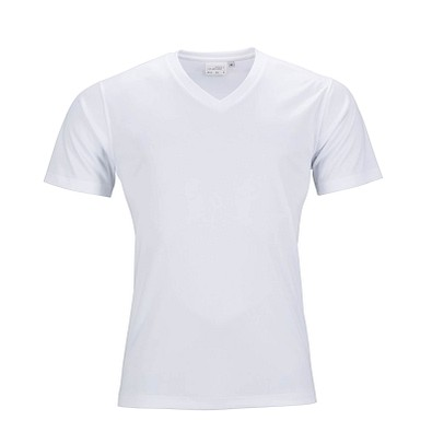 JAMES & NICHOLSON Herren Funktions T-Shirt Active, weiss, L