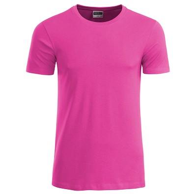 JAMES & NICHOLSON Herren T-Shirt Basic aus Bio-Baumwolle, pink, XXL