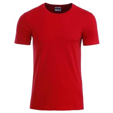JAMES & NICHOLSON Herren T-Shirt Basic aus Bio-Baumwolle, rot, XXL