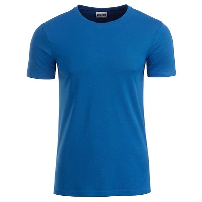 JAMES & NICHOLSON Herren T-Shirt Basic aus Bio-Baumwolle, blau, XXL