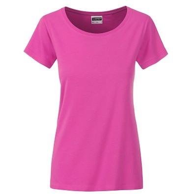 JAMES & NICHOLSON Damen T-Shirt Basic aus Bio-Baumwolle, pink, XL