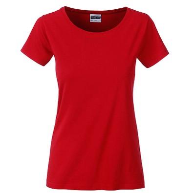 JAMES & NICHOLSON Damen T-Shirt Basic aus Bio-Baumwolle, rot, XS