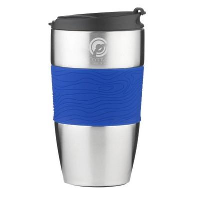 Thermobecher Royal, 415 ml, silber/blau