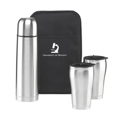 Thermo-Geschenkset in Tasche, Flasche 500 ml, Becher  2x 175 ml, silber