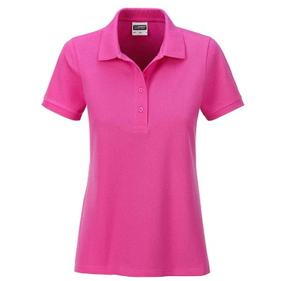 JAMES & NICHOLSON Damen Poloshirt Basic Bio BW, pink, L