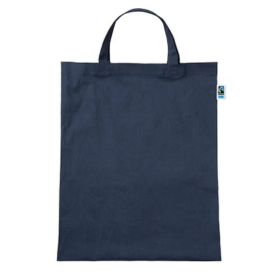 Fairtrade Baumwolltasche Classic, dunkelblau, kurze Henkel
