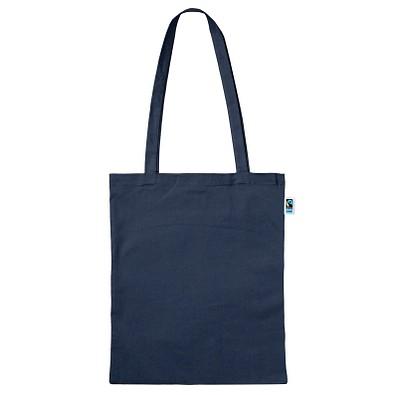 Fairtrade Baumwolltasche Classic, dunkelblau, lange Henkel