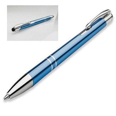 Metall-Touch-Kugelschreiber Albi, blaue Mine, hellblau