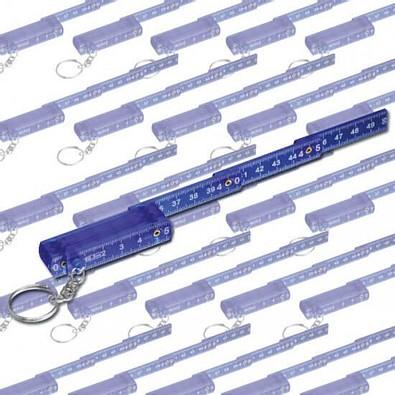 Werbe-Set: 100 x Schlüsselanhänger Maßstab, Blau/Transparent, Inkl. Druck
