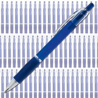 Werbe-Set: 400 BIC® Kugelschreiber Clic Pen, inkl. Druck, blaue Mine, blau/frosted