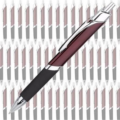 Werbe-Set: 100 Metall-Kugelschreiber Triangle, inkl. Druck, blaue Mine, bordeaux