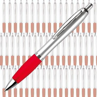Werbe-Set: 400 Kugelschreiber Rio, inkl. Druck, silber/rot