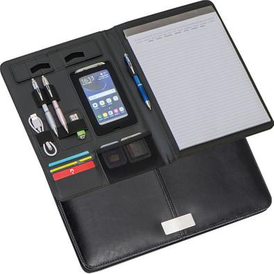 A4 Schreibmappe aus Lederfaserstoff, schwarz