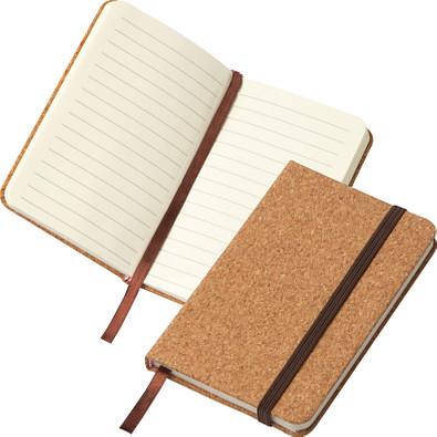 A6 Notizbuch mit Korkeinband und linierten Seiten