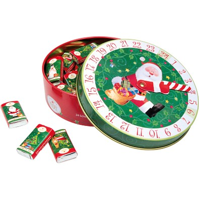 CONFISERIE HEIDEL Adventskalender-Dose Christmas Time, rot/grün