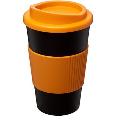 Americano Isolierbecher mit Schutzring, 350 ml, schwarz,orange