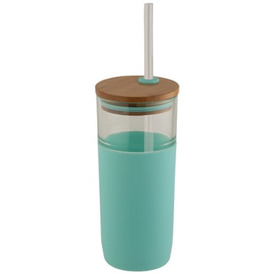 Arlo Glasbecher mit Bambus Deckel, 600 ml, mintgrün