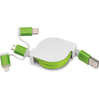 Ausziehbares Ladekabel 3in1, grün