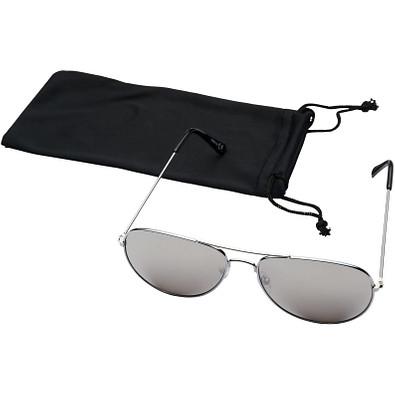 Aviator Sonnenbrille mit farbigen Spiegelgläsern, silber