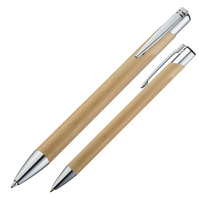 Bambus-Druckkugelschreiber El Salvador, blaue Mine, hellbraun