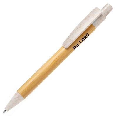 Druckkugelschreiber Sydor aus Bambus und Weizenstroh, blaue Mine, beige