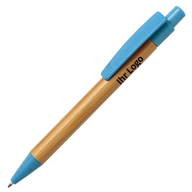 Bambus-Kugelschreiber Sydor, blau