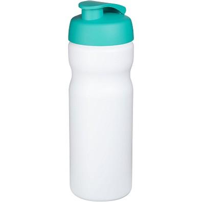 Baseline Plus Sportflasche mit Klappdeckel, 650 ml, weiss,aquablau
