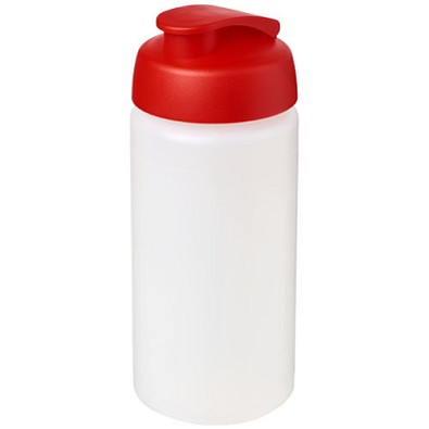Baseline Plus grip Sportflasche mit Klappdeckel, 500 ml, transparent,rot